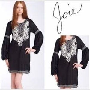 Joie Jaslyn Embroidered Mini dress in Black  - XS